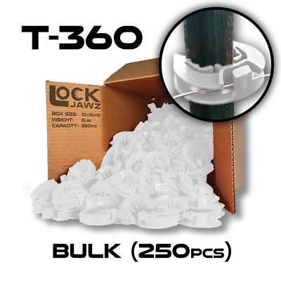 Lockjawz - White - T-360 Electric Fence Insulators. Line Corner Post 250 Pk