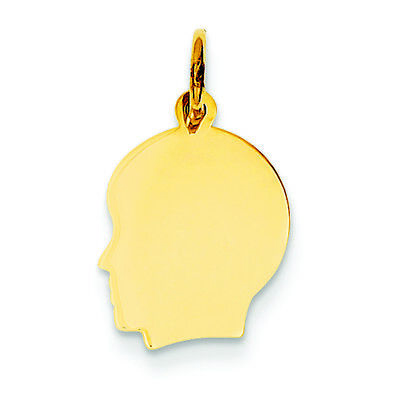 14K Yellow Gold Small .009 Gauge Facing Left Engravable Boy Head Charm Pendant 14k Boy Head Charm