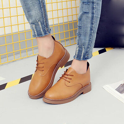 Spring Women's Fashion Flat Heel Leather Oxfords Shoes Casual Lace Up Shoes New