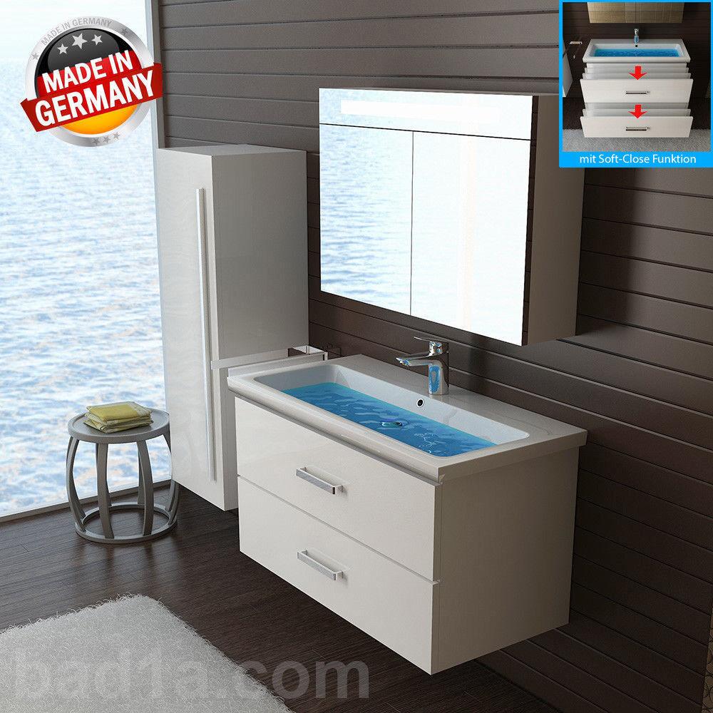 Waschbecken mit Unterschrank&Spiegel&Hochschrank
