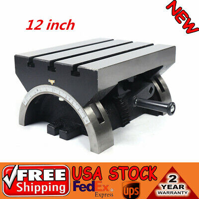 12 Adjustable 0-45 Angle Plate Tilting Milling Worktable Indexing Disk New