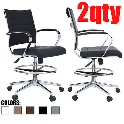 Set Of 2 Modern Designer Ergonomic Office Drafting Chair Low Back With Arms