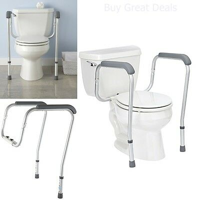 Handicap Grab Bars Adjustable Toilet Safety Rail Seat Assist Elderly Bathroom