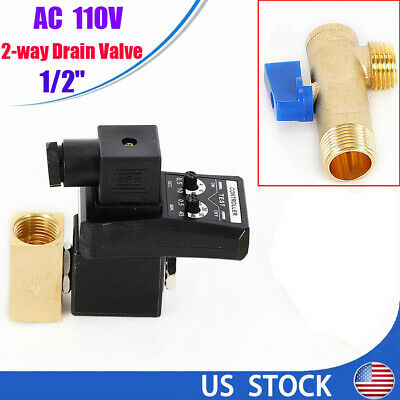 Ac 110v Electronic Timed Air Compressor Automatic 2-way Drain Valve 12 Us Ship