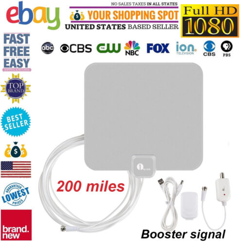 1byone 40 Miles Antenna TV Digital HD Skywire Antena Digital