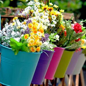 10 x Metal Iron Flower Pot Hanging Balcony Garden Planter Home Decor Convenient