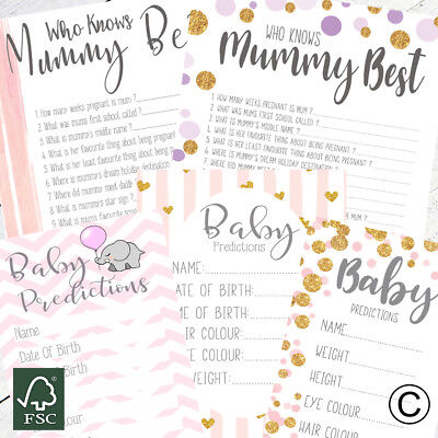 Baby Shower Games For Girls Prediction Cards Who Knows Mummy Best Advice