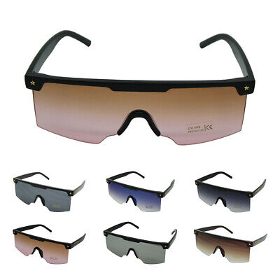 New Womens Mens Designer Large Glasses Flat Lens Rimless Square Sunglasses UK