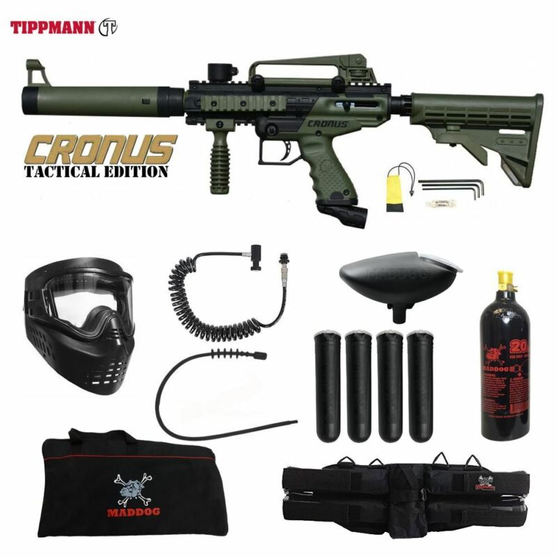 Tippmann Maddog Cronus Tactical Specialist Paintball Gun Package Olive