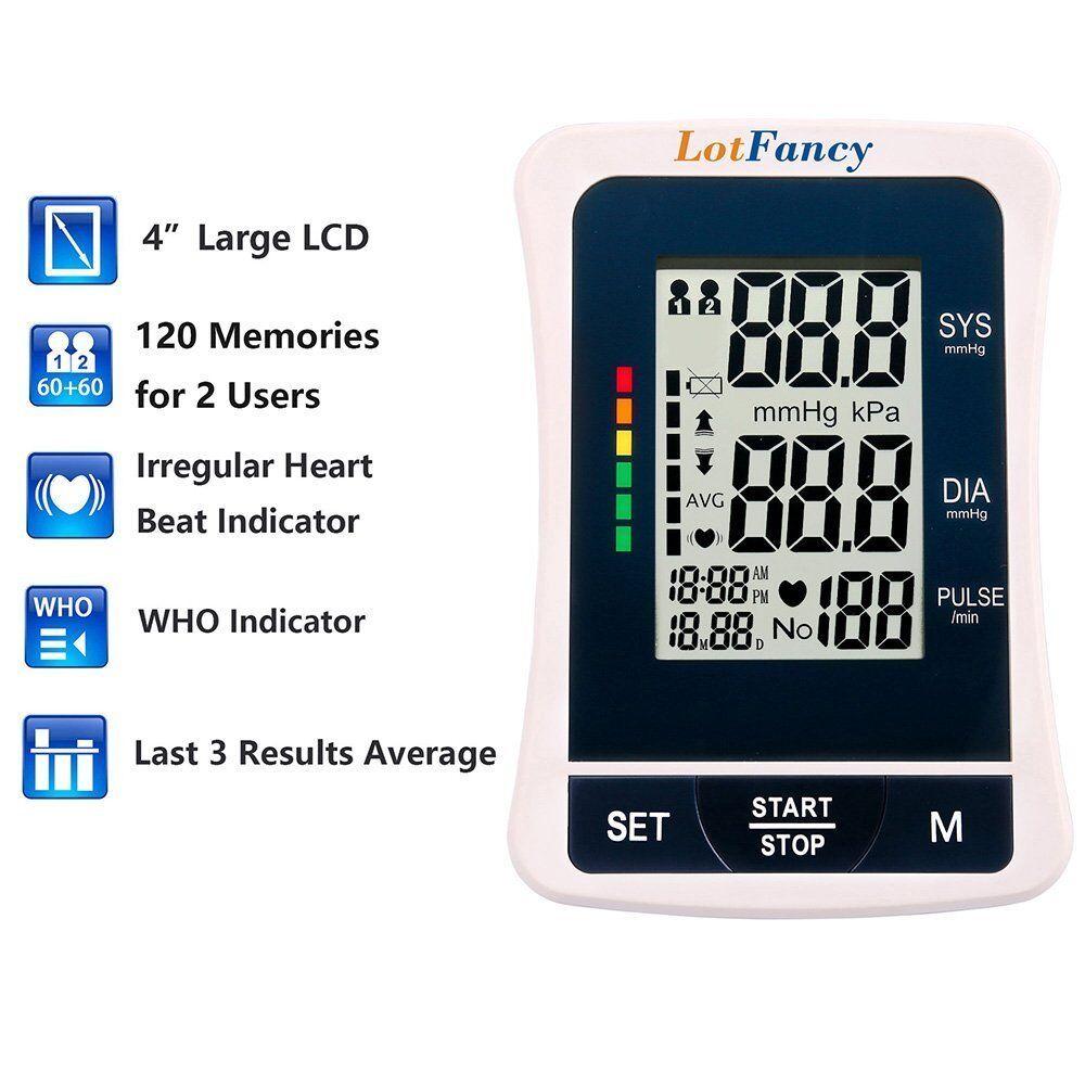Купить LotFancy Medium Cuff - Auto Digital High Arm Blood Pressure Monitor BP Cuff Gauge Machine Test Adapter