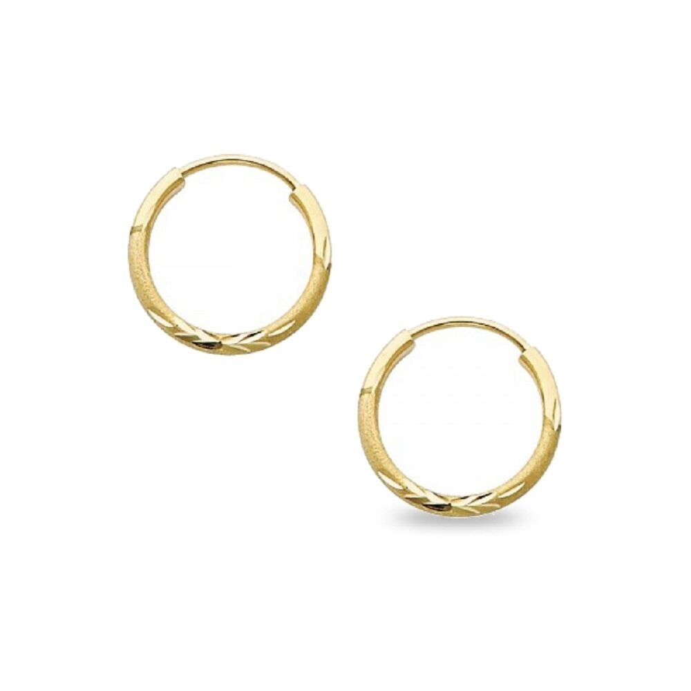 14k Yellow Gold 2MM Polished Round Endless Hoops