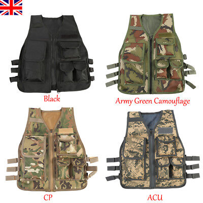 Kids Children Tactical Military Vest Assault Combat Gear Army CS Play Hunting UK