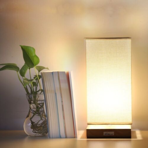 HAITRAL Modern Bedside Table Lamp Fabric Shade Wood Desk Lig