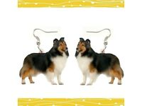 Shetland sheepdog Earrings Dangle Drop Jewelry Women Party Toy Lady Acrylic Dog