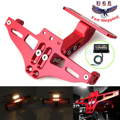 Red CNC Motorcycle License Plate Holder Tail Light Bracket Universal For Yamaha