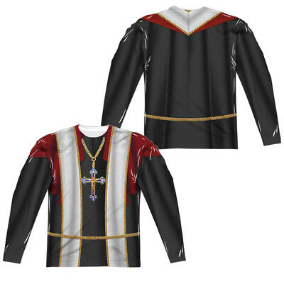 PRIEST COSTUME Adult Men's Long Sleeve Sublimated Tee Shirt SM-3XL Halloween  - Halloween Priest