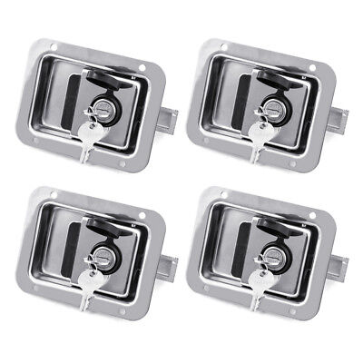 4x Toolbox Lock Steel Door Paddle Handle Trailer Latch 4-58 X 3-58 W 8 Keys