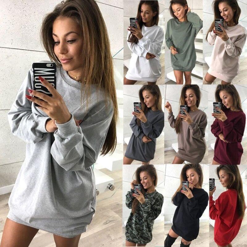 Damen Langshirt Winter Pullover Pullikleid Sweatshirt Hoodie Jumper Minikleid 40