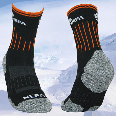 2 Pairs Lot Mens Black Cushioned Outdoor Trekking Backpacking Hiking Socks