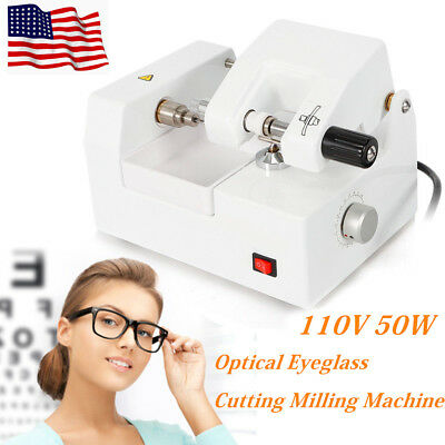 110v Eyeglass Cutting Milling Machine Optical Lens Cutter Optometry Equipment Us