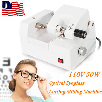 110v Eyeglass Cutting Milling Machine Optical Lens Cutter Optometry Equipment Us