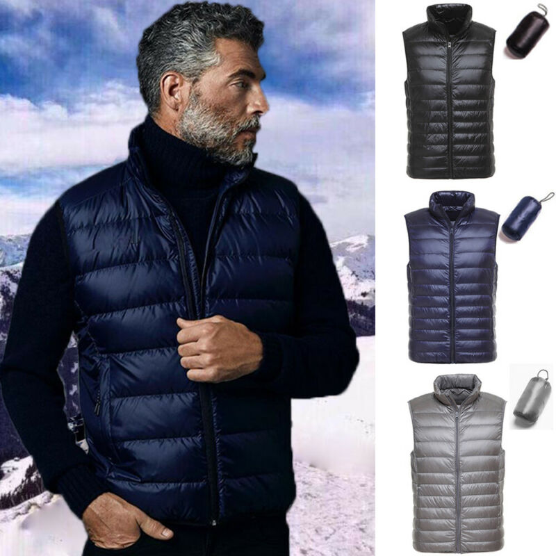 Men 90% Duck Down Jacket Vest Packable Lightweight Stand Col