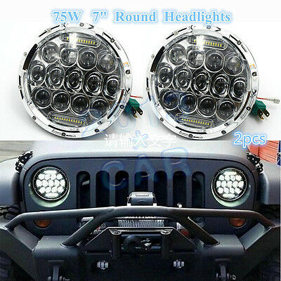 2x 7inch 75W LED Headlights H4 H13 DRL HIGH LOW BEAM For JEEP JK Wrangler Chrome