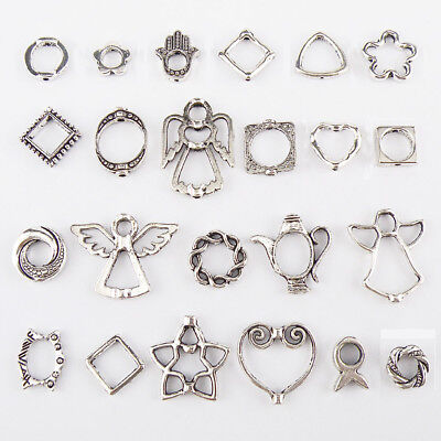 Tibetan Silver Spacer Bead Frame Charms 23Styles-1 Or Mixed Jewelry Making FB13