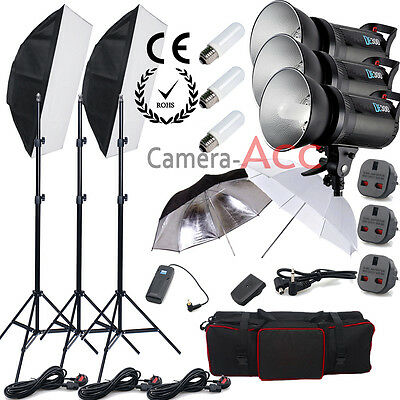 NEW Digital 900W Studio Flash Lighting set Photography Strobe light Portrait Kit