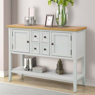 Retro Console Table Wood Entryway Sofa Accent Hallway Living Room Furniture ()