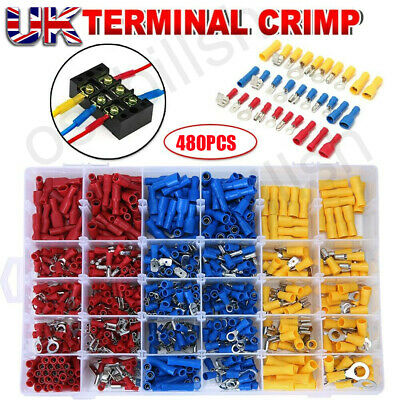 480x Electrical Cable Wire Connectors Assorted Insulated Crimp Terminals Spade O