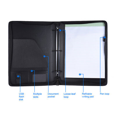 Professional Business Portfolio Folder A4 Pu Leather Document Organizer Y4p8