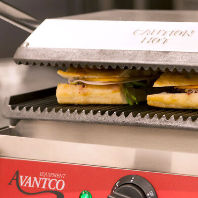 Avantco P78 Commercial Single Panini Sandwich Grill Grooved Top And Bottom