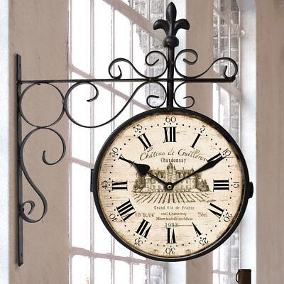 Vintage Bahnhofs Wand Uhr Antik Braun Rot Wohn Zimmer Dekoration Schriftzug