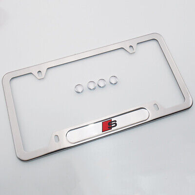 For Audi S Brand New License Frame Plate Cover Stainless Steel Chrome Sport