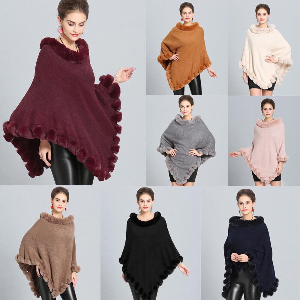 Women's Winter Faux Fur Shawl Poncho Cape Jacket Cloak Coat