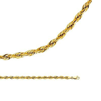 - Rope Chain Solid 14k Yellow Gold Necklace Silky Hollow Light Big , 4 mm