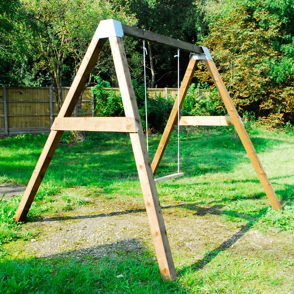 Diy garden swing set brackets wooden frame outdoor kids for How to build a swing set for adults