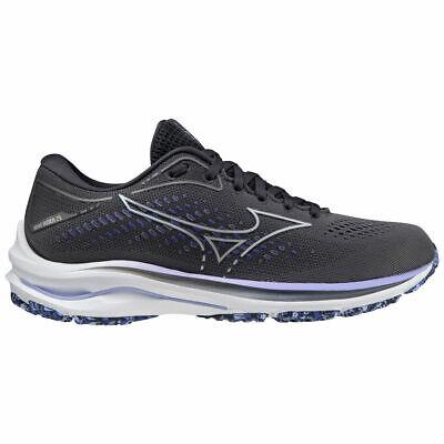 Mizuno Women's Wave Rider 25 Running Shoes UK 8 BLACKENED PEARL/VISION VIOLET >