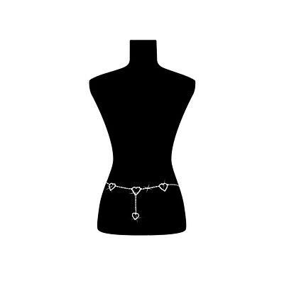 PunkJewelry Fashion Bauchkette HERZEN mit vielen Schmucksteinen