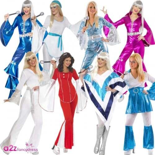 womens 70s super trooper disco lady abba waterloo mamma mia fancy dress costume
