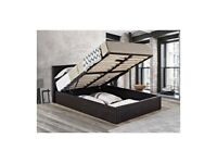 🌈STRONG AND STYLISH🌈SINGLE LEATHER STORAGE BED FRAME WITH SEMI ORTHOPEDIC MATTRESS - BLACK/BROWN