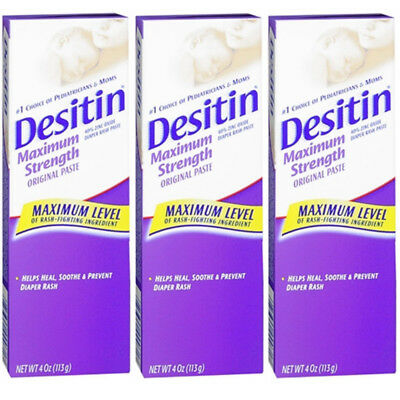 3 Pack Desitin Diaper Rash Maximum Strength Original Paste 4 oz tube Exp 09/2017