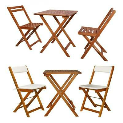 Garden Furniture - Folding Bistro Set Outdoor Garden Patio Dining Table Chairs Furniture Solid Wood