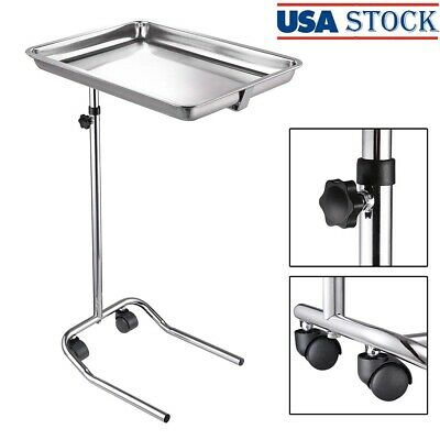 Mobile Rolling Mayo Stand Trolley Medical Instrument With Removable Tray Base