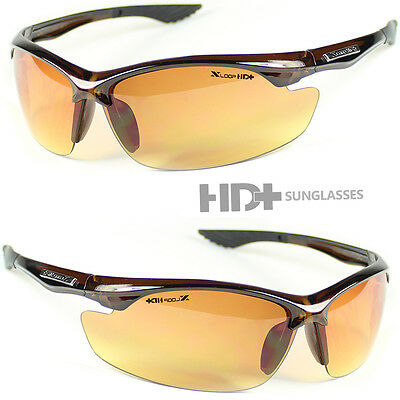 SPORT WRAP HD NIGHT DRIVING VISION SUNGLASSES BROWN HIGH DEFINITION - Yellow Sunglasses