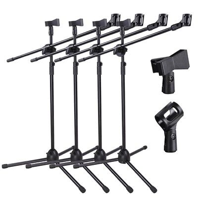 - 4pcs Microphone Boom Stand Dual Mic Clip Folding Arm Tripod Height Adjust Holder