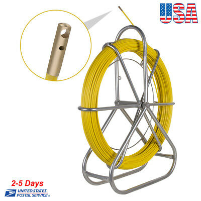 6mm 130m Fiberglass Wire Cable Rod Duct Rodder Fishtape Durable - 40-60