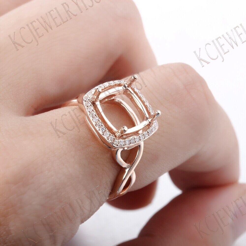 10X10mm Cushion Cut Semi Mount Solid 10K Rose Gold Diamonds ...