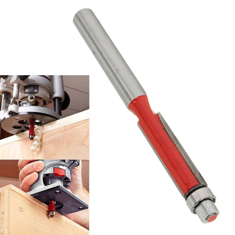 Flush Trim Router Bit with Top and Bottom Bearing 1-1//2H 1//4 Shank Woodworking Tool Router Bit